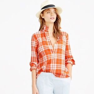 J.Crew Gauzy Orange Plaid Cotton Popover Shirt 10